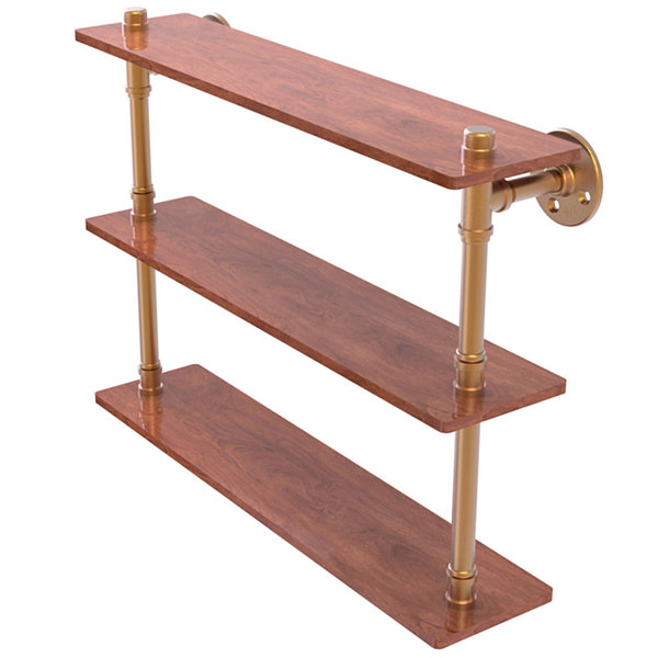 Allied Brass Pipeline Collection 22 IN Ironwood Triple Shelf