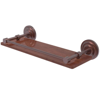 Allied Brass Que New Collection 16 IN Solid Ipe Ironwood Shelf With Gallery Rail
