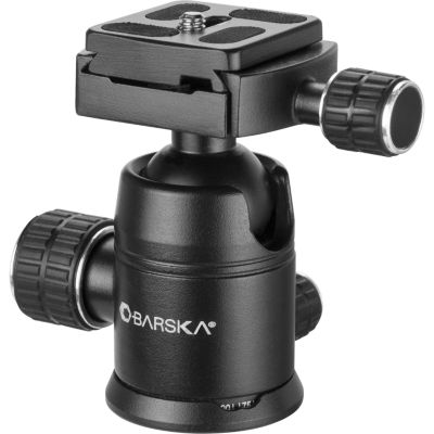 Barska Ball Joint Tripod Head; 90 Degree Tilt; Connects To 3/8 - 16 Thread Tripod Screw; Black; Outer Size 2.5 X Af12544