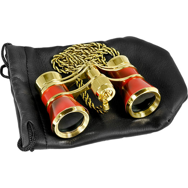 Barska 3X25 Blue Line Opera Glass Theater Binoculars W Necklace & Pouch - Ruby