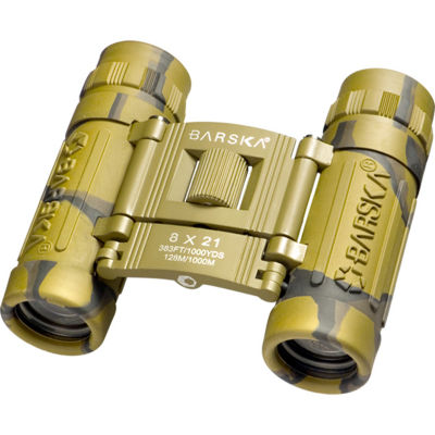 Barska 8X21  Lucid View Binocular Camo Compact Blue Lens Clam