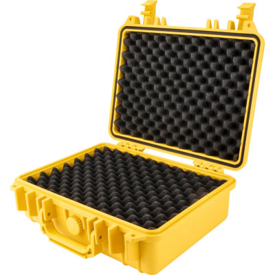 Barska Hd-200 Wt Protective Hard Case W/ Foam Padding, 2 Padlock Mounting Points, Yellow Bh12670