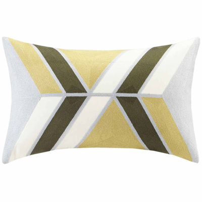 INK + IVY Aero Embroidered Abstract Oblong Throw Pillow