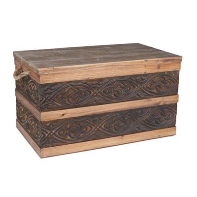 Household Essentials Large Metal Banded Wooden Trunk