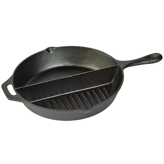 """Tabletops Unlimited Cast Iron 13.5"""" Round Grill + Griddle Combo"""