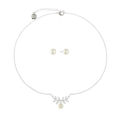 Monet Jewelry Simulated Pearl Silver Tone 2-pc. Jewelry Set