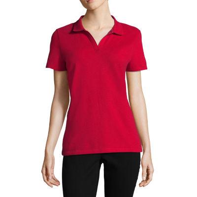St. John's Bay Womens Short Sleeve Knit Polo Shirt Petite