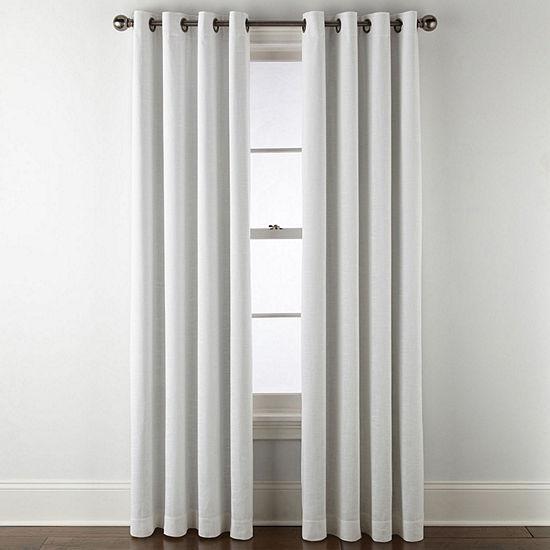 Liz Claiborne Holland Linen 100% Blackout Grommet-Top Single Curtain Panel