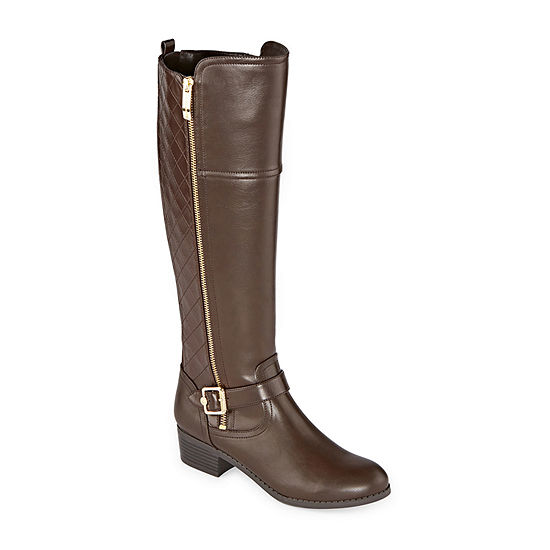 Liz Claiborne Womens Torcello Wide Calf Stacked Heel Riding Boots