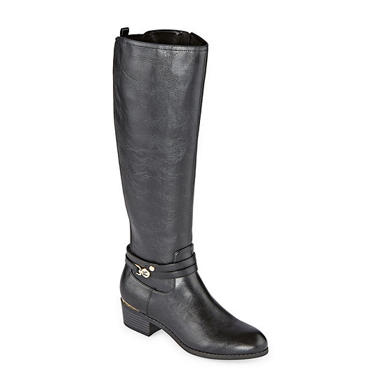 Liz Claiborne Womens Tacca Riding Boots Stacked Heel Wide Width