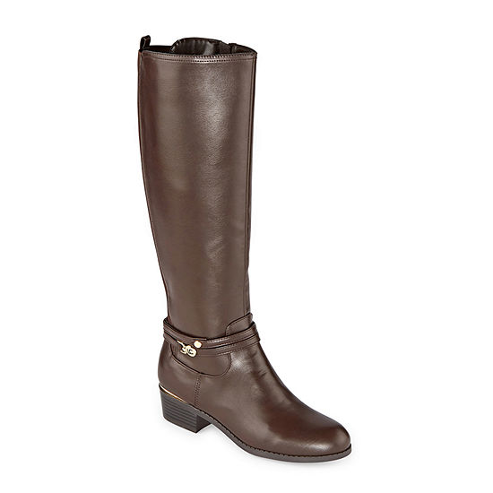Liz Claiborne Womens Tacca Wide Calf Stacked Heel Riding Boots