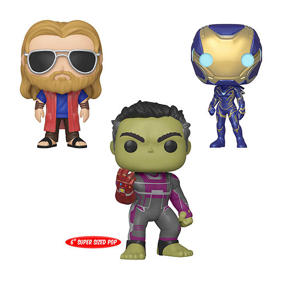 "Funko Pop! Marvel Avengers Endgame Collectors Set 3 - Casual Thor Rescue 6"" Hulk With Gauntlet"