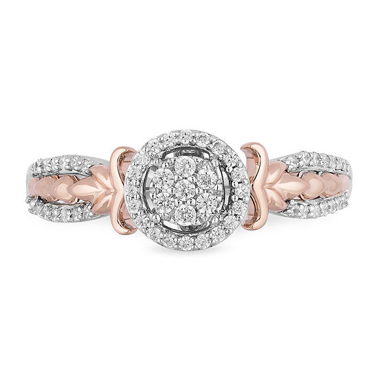 Enchanted Disney Fine Jewelry Womens 1/4 CT. T.W. Genuine White Diamond 10K Rose Gold Round Disney Princess Promise Ring