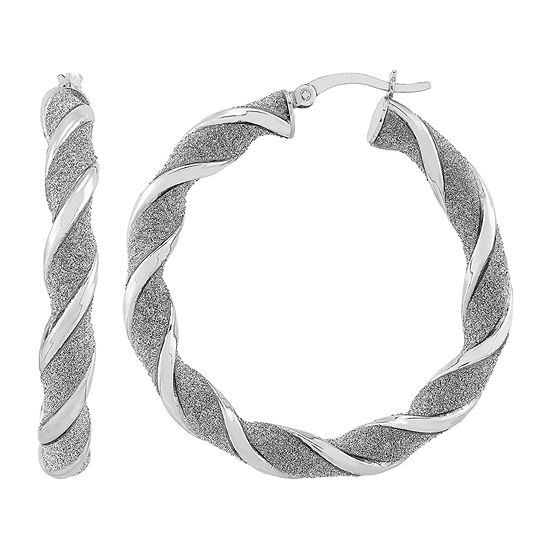 Sterling Silver 40mm Round Hoop Earrings