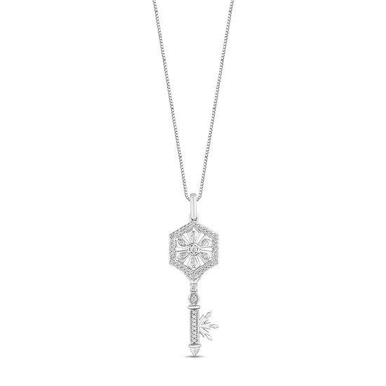 "Enchanted Disney Fine Jewelry ""Frozen 2"" Womens 1/6 CT. T.W. Genuine Diamond Sterling Silver Keys Frozen Pendant Necklace"