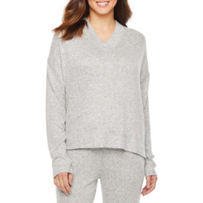 Jaclyn Womens Knit Pajama Top V Neck