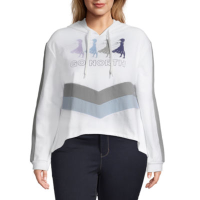 Womens Hooded Neck Long Sleeve Frozen Sweatshirt Juniors Plus