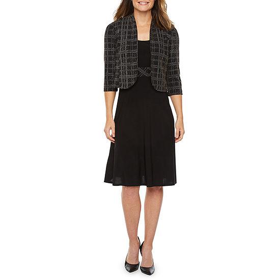 Perceptions 3/4 Sleeve Glitter Jacket Dress