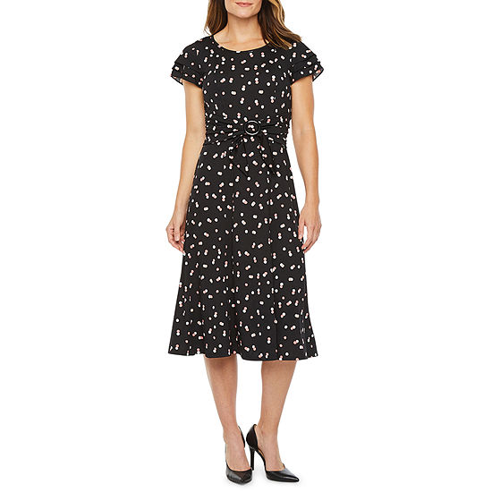 Perceptions Short Sleeve Dots Midi Fit & Flare Dress