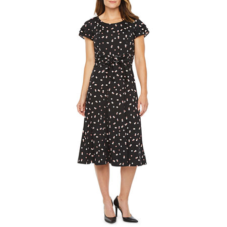 1930s Day Dresses, Afternoon Dresses History Perceptions Short Sleeve Dots Midi Fit  Flare Dress Small  Black $29.99 AT vintagedancer.com
