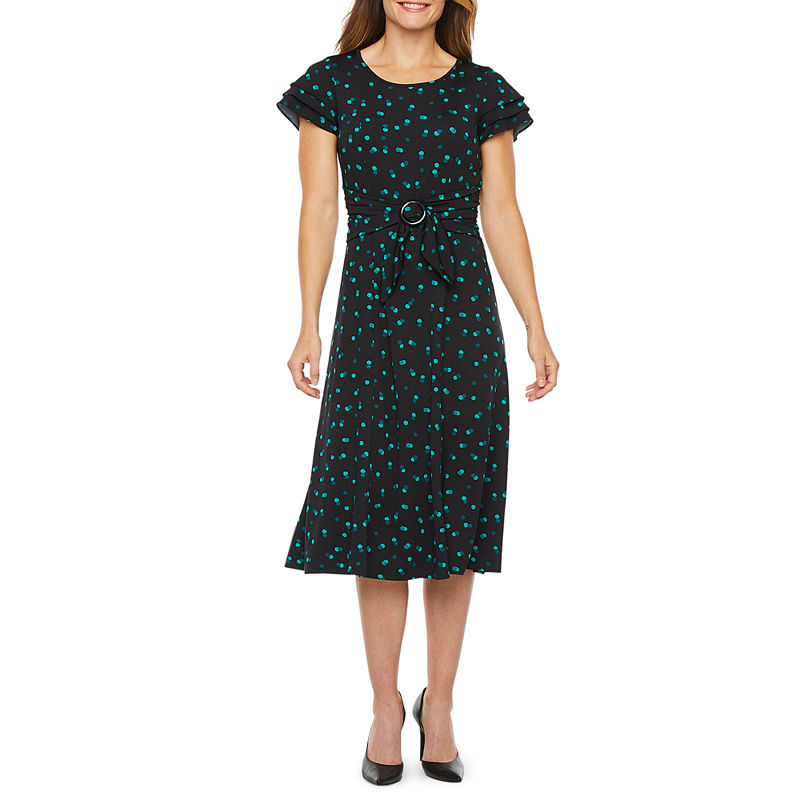 1930s Day Dresses, Afternoon Dresses History Perceptions Short Sleeve Dots Midi Fit  Flare Dress $29.99 AT vintagedancer.com