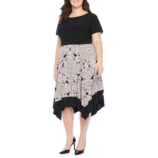 Perceptions-Plus Short Sleeve Paisley Midi Fit & Flare Dress