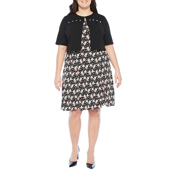Perceptions-Plus Short Sleeve Floral Puff Print Jacket Dress