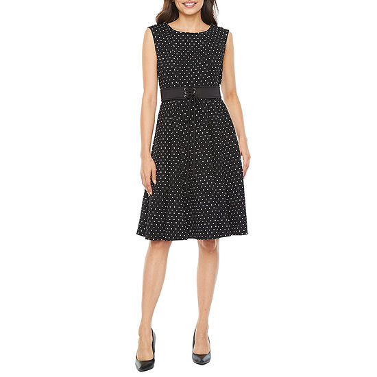 Danny & Nicole-Petite Sleeveless Polka Dot Midi Fit & Flare Dress