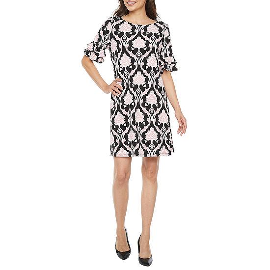Ronni Nicole-Petite Short Sleeve Midi Scroll Shift Dress