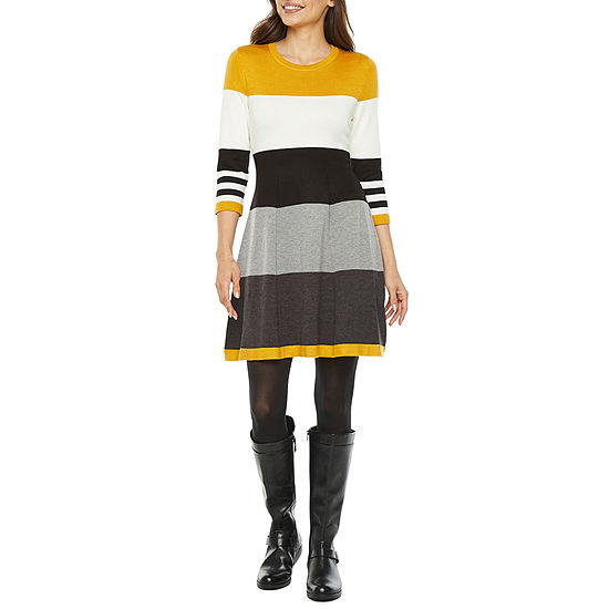 Jessica Howard-Petite 3/4 Sleeve Sweater Dress