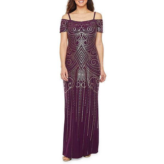 Blu Sage Cold Shoulder Glitter Knit Evening Gown