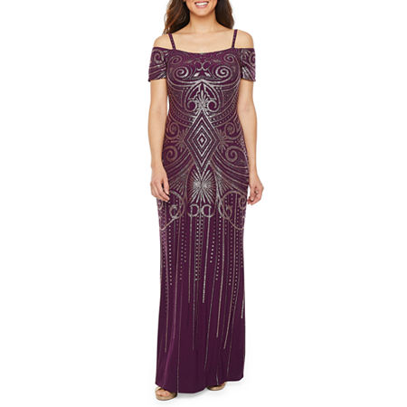 1920s Plus Size Flapper Dresses, Gatsby Dresses, Flapper Costumes Blu Sage Cold Shoulder Glitter Knit Evening Gown $69.99 AT vintagedancer.com