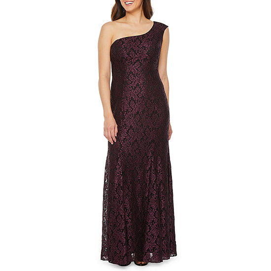R & M Richards One Shoulder Lace Evening Gown