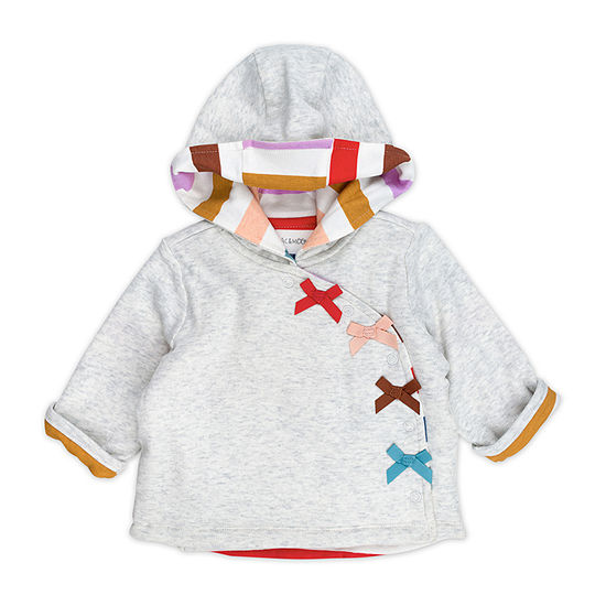 Mac And Moon Rainbow Bow Girls Hooded Midweight Quilted Jacket-Baby