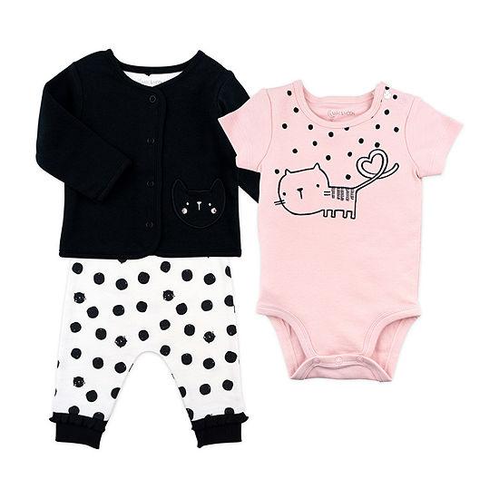 Mac And Moon Kitty Girls 3-pc. Baby Clothing Set-Baby