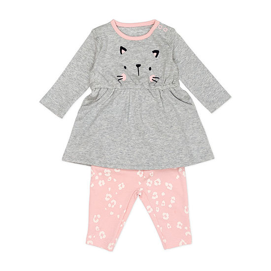Mac And Moon Kitty-Baby Girls 2-pc. Baby Clothing Set