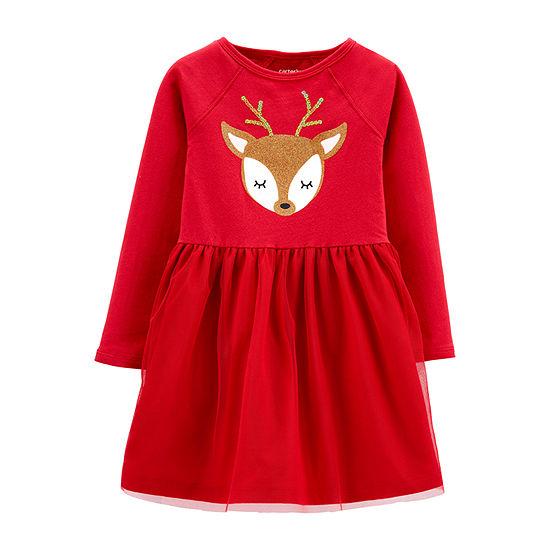 Carter's Christmas Girls Long Sleeve A-Line Dress - Baby