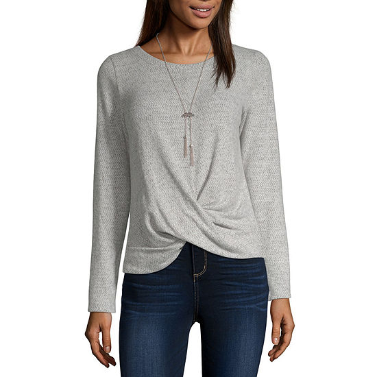 by&by-Juniors Womens Round Neck Long Sleeve Knit Blouse
