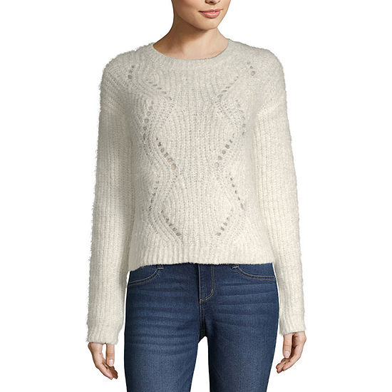 Arizona-Juniors Womens Crew Neck Long Sleeve Pullover Sweater