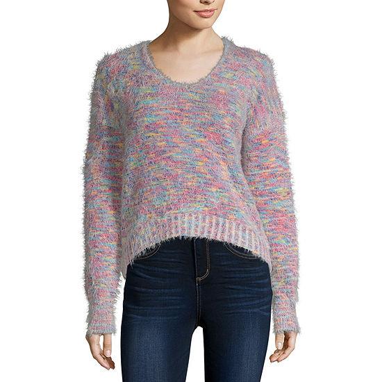 Arizona-Juniors Womens Scoop Neck Long Sleeve Pullover Sweater