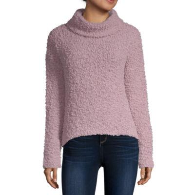 Arizona-Juniors Womens Turtleneck Long Sleeve Pullover Sweater
