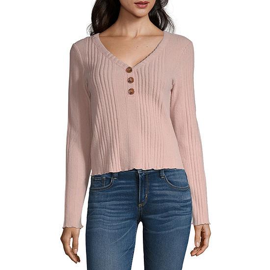Arizona-Juniors Womens Long Sleeve Modern Fit Button-Front Shirt