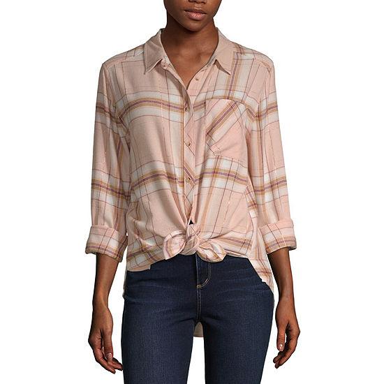 Arizona Womens Long Sleeve Regular Fit Button-Front Shirt -Juniors