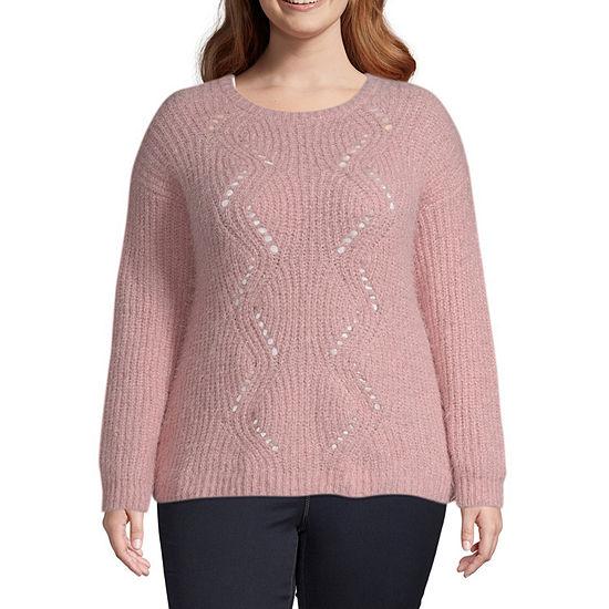 Arizona-Juniors Plus Womens Crew Neck Long Sleeve Pullover Sweater