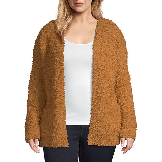 Arizona Womens Long Sleeve Cardigan - Juniors Plus
