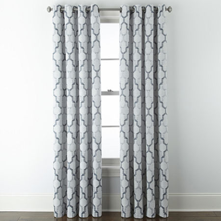 JCPenney Home Casey Jacquard Light-Filtering Grommet-Top Single Curtain Panel, One Size , Blue