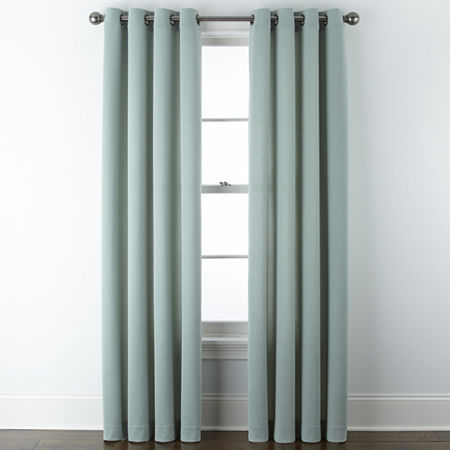JCPenney Home Arista Light-Filtering Grommet-Top Single Curtain Panel, One Size , Green