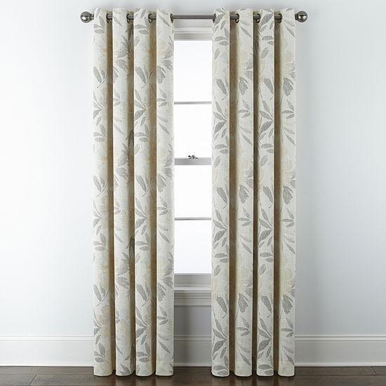 JCPenney Home Sullivan Floral Blooms Energy Saving Blackout Grommet-Top Single Curtain Panel