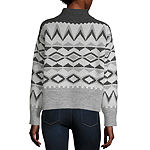 a.n.a Womens Mock Neck Long Sleeve Geometric Pullover Sweater