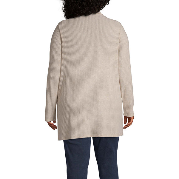 a.n.a Womens Draped Neck Long Sleeve Open Front Cardigan-Plus